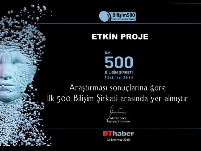 05082015113849 - Etkin Proje, Bilişim 500 (2015) sıralamasında yer aldı.