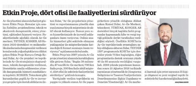 """06102016092843 - Etkin Proje, Dünya Gazetesi'nin """"Ar-Ge & İnovasyon Liderleri"""" ekinde yer aldı!"""