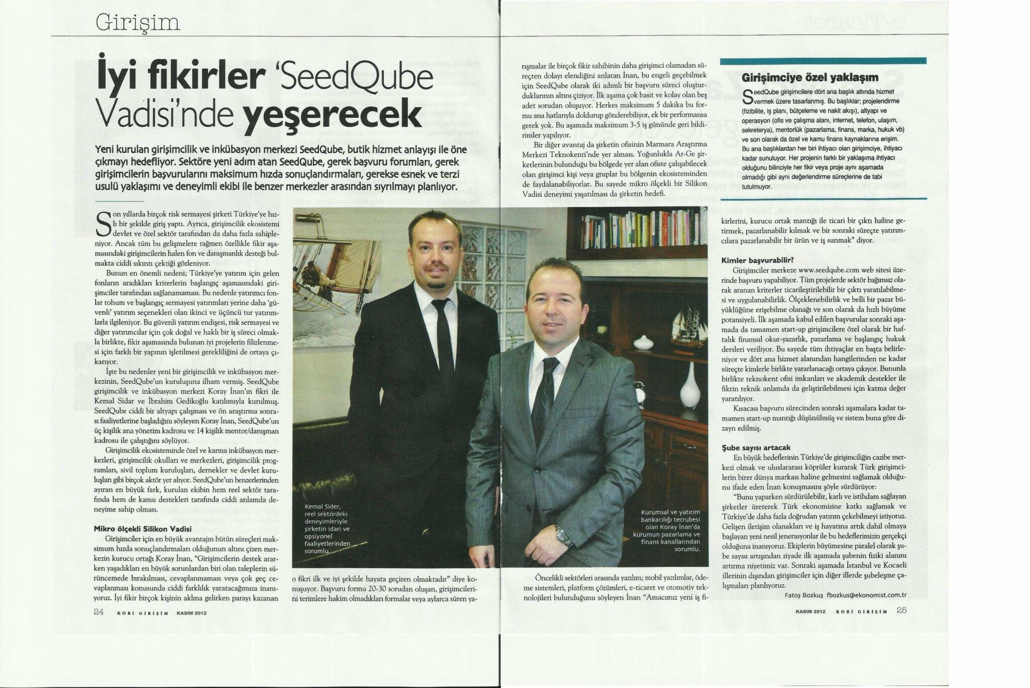 SeedQubeRoportaj - Etkin Proje'nin yeni girişimi SeedQube, Ekonomist Dergisi'ne haber oldu!
