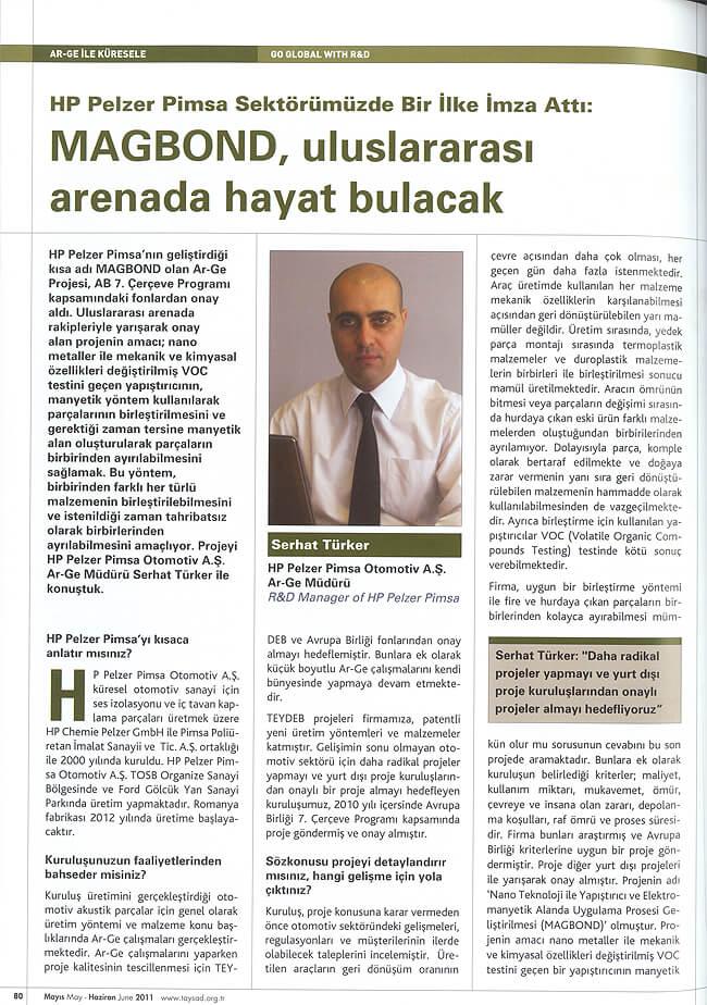 Taysad Haziran 2011 1 - Etkin Proje'nin HP Pelzer Pimsa ile geliştirdiği 7. Çerçeve Projesi Taysad Dergisinde