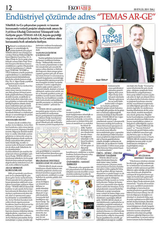 ULUTEK 12 - Etkin Proje iştiraki Temas Ar-Ge Eko Haber Gazetesinde!