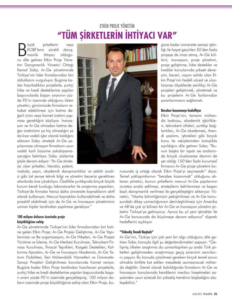 kobilife 782x1024 - Etkin Proje Kobilife Dergisi Aralık 2012 Sayısında