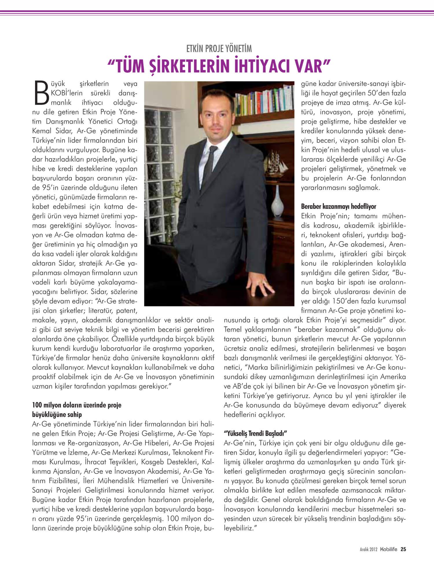 kobilife - Etkin Proje Kobilife Dergisi Aralık 2012 Sayısında