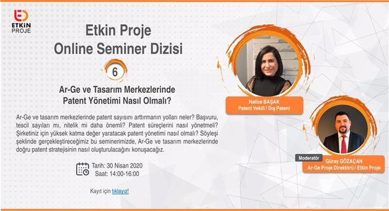online seminer dizisi 2 - Ar-ge ve Tasarım Merkezlerinde Patent Yönetimi Nasıl Olmalı?
